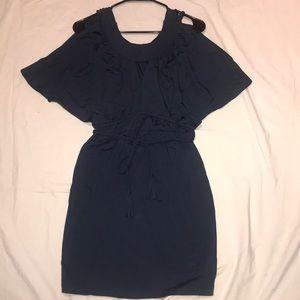 Teal jersey pullon dress open shoulder tie belt